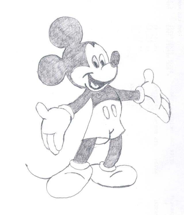Apprendre a dessiner mickey en entier - Comment dessiner mickey ...