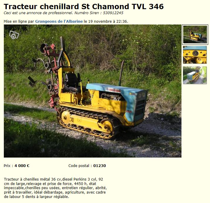vends tracteur chenillard st chamond tvl363. Black Bedroom Furniture Sets. Home Design Ideas