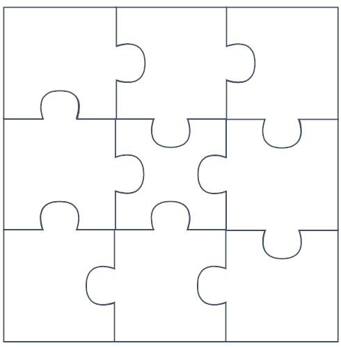 Puzzle Template 9 Pieces Vector Stockvector 197086226