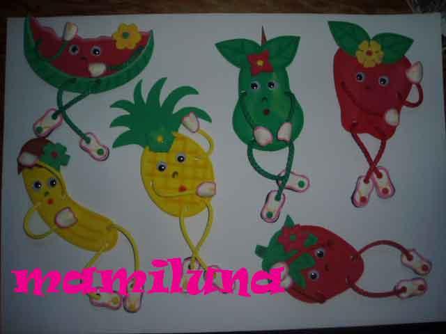 Moldes de figuras de frutas en foami para la nevera - Imagui