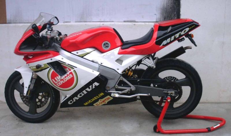 Cagiva 125cc. the Cagiva Mito piloted by