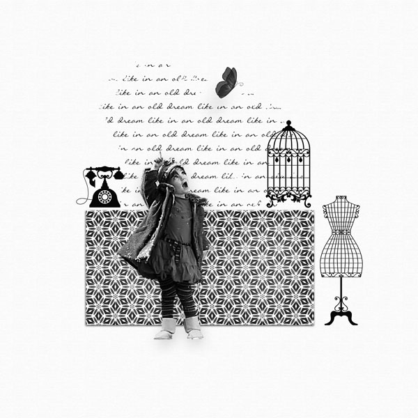 kit old dreams in black and white simplette page simplette