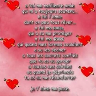 """voici un petit poème """"à toi, ma meilleure amie"""" -josiane"""