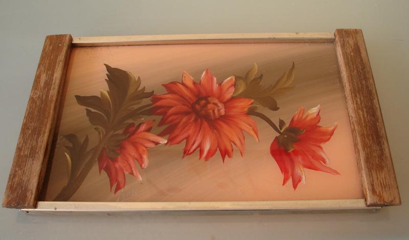 Plateau peinture sous verre - Peinture sur plateau en verre ...