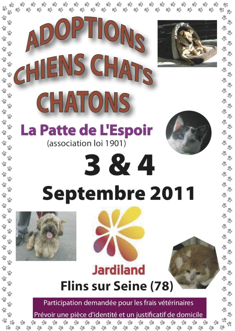 3 et 4 septembre 2011 week end adoptions et boutique for Comemploi flins sur seine