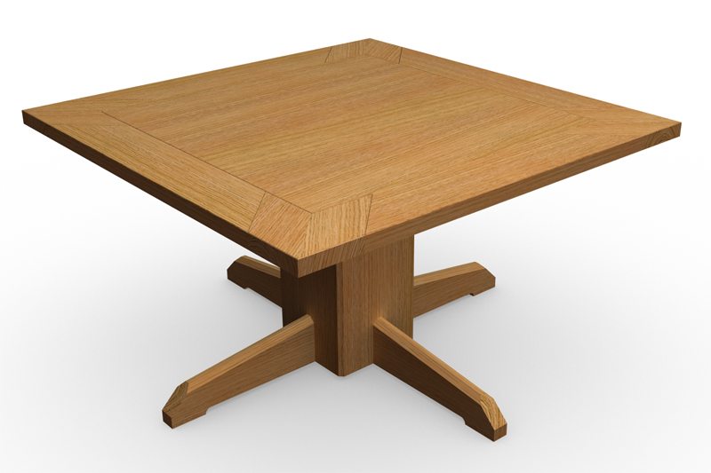 Une petite table pied central - Table pied central bois ...