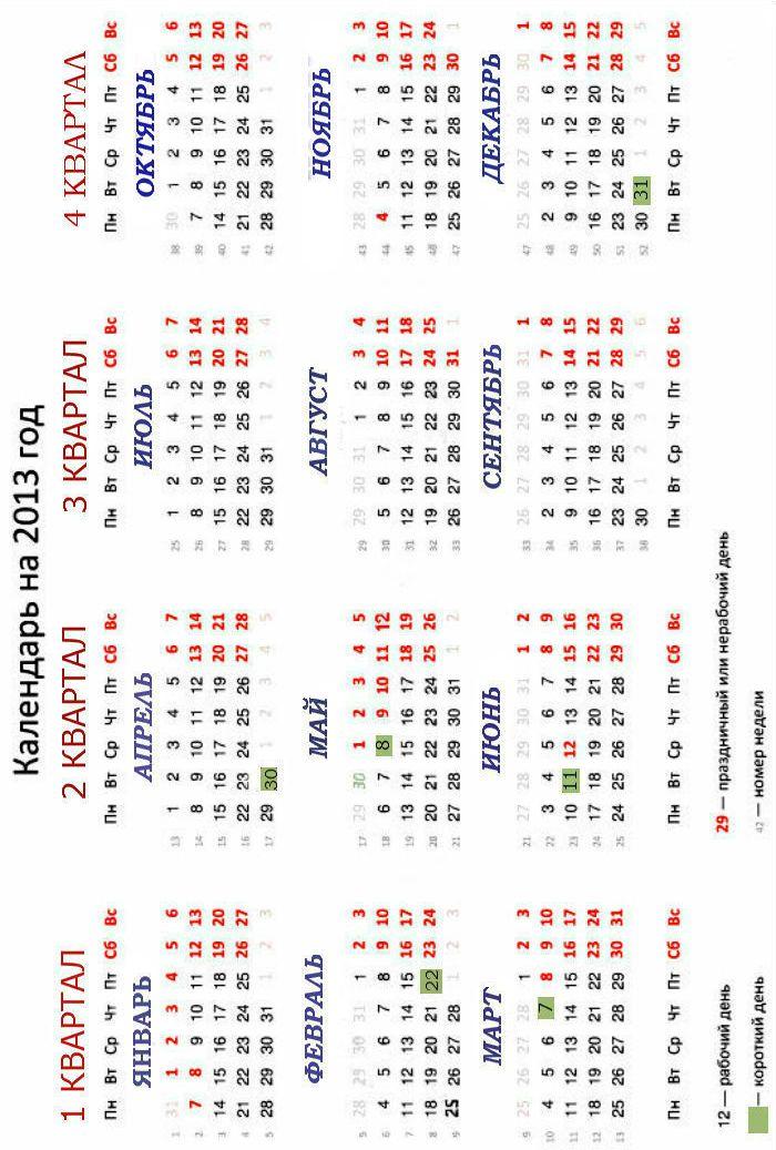 Календарь на 2013 год с праздничными и короткими днями - распечатать.